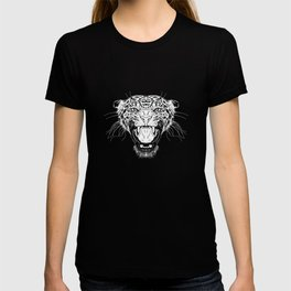 Illustration with a head of a leopard in white on a dark background T-shirt