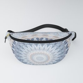 Serenity Mandala in Blue, Ivory and White on Textured Background Fanny Pack