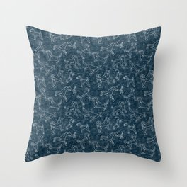 Constellation Dogs on Midnight Sky Throw Pillow