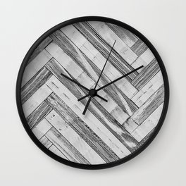 Vintage Diagonal Design //Black and White Wood Accent Decoration Hand Scraped Design Wall Clock