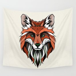 Fox // Colored Wall Tapestry