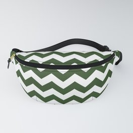 Large Dark Forest Green and White Chevron Stripe Pattern Fanny Pack