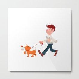 A man walking with his dog Metal Print