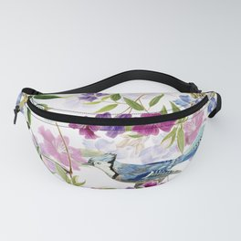Vintage & Shabby Chic - Blue Jay and Flowers Fanny Pack