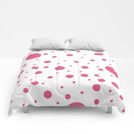 Mixed Polka Dots - Dark Pink on White Comforters