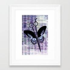 hair stylist scissors shears butterfly grunge purple Framed Art Print