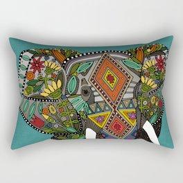floral elephant teal Rectangular Pillow