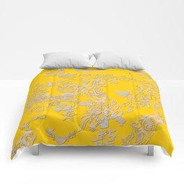 yellow tattoo Comforters