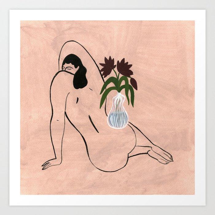 Flowers on a Woman Art Print