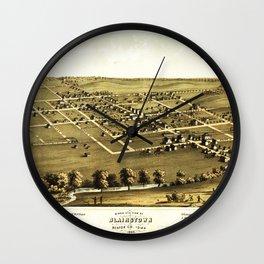 Bird's Eye View of Blairstown, Iowa (1868) Wall Clock