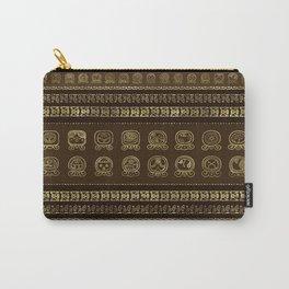 Maya Calendar Glyphs Gold on brown Carry-All Pouch
