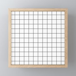 Grid Simple Line White Minimalist Framed Mini Art Print