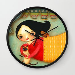 Siamese Cat Angel sweet collage painting by Tascha Wall Clock