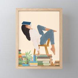Lost in my books Framed Mini Art Print
