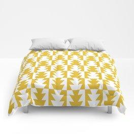 Art Deco Jagged Edge Pattern Mustard Yellow Comforters