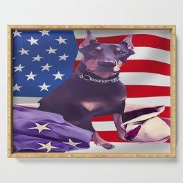 Patriotic USA Doberman Pinscher Serving Tray