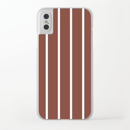 Vertical Lines (White & Maroon Pattern) Clear iPhone Case