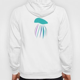 Casual graphic blue funny stylish cartoon jellyfish and neon sea world with purple octopus fish Hoody