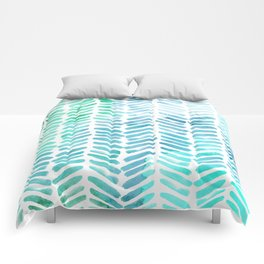 Handpainted Chevron pattern - light green and aqua - stripes Comforters