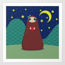 Zaza takes a night stroll Art Print