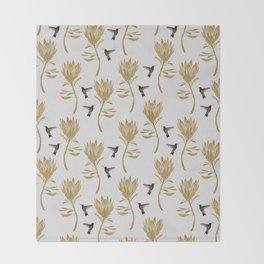 Hummingbird & Flower I Throw Blanket