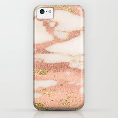 Marble - Rose Gold Shimmer Marble with Yellow Gold Glitter iPhone 5c Slim Case