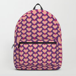 Pink and Purple Hearts Repeated Pattern 064#001 Backpack