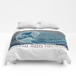 Hokusai Meets Fibonacci, Golden Ratio #2 Comforters