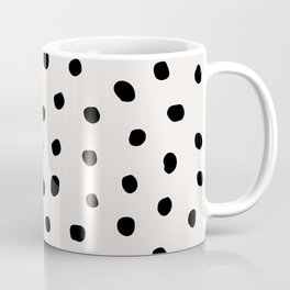 Modern Polka Dots Black on Light Gray Coffee Mug