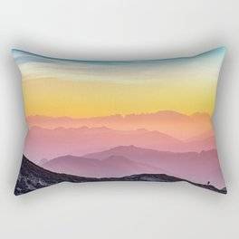MOUNTAINS - LANDSCAPE - PHOTOGRAPHY - RAINBOW Rectangular Pillow