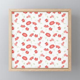 Red and Green Floral Pattern Framed Mini Art Print
