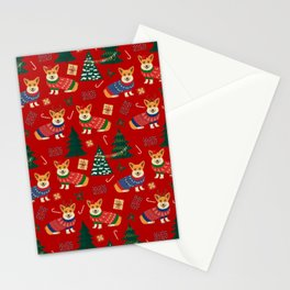 Merry Corgmess- Corgi Celebrate Christmas 2 - Xmas Red Stationery Cards