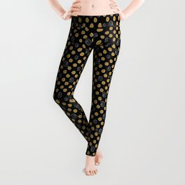 Spiral and yellow flowers Leggings