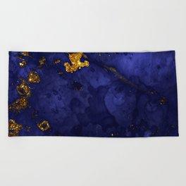 Gold Blue Indigo Malachite Marble Beach Towel