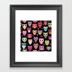 Owl cuteness colorful bird pattern parade Framed Art Print