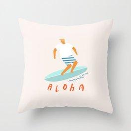 Surfer aloha poster Throw Pillow