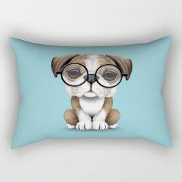 Cute English Bulldog Puppy Wearing Glasses on Blue Rectangular Pillow