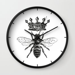 Queen Bee   Black and White Wall Clock