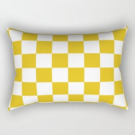 Mustard Yellow Checkers Pattern Rectangular Pillow
