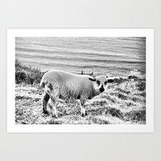 Snowy Lamb Art Print