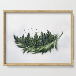 Earth Feather • Green Feather (horizontal) Serving Tray