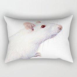 White Rat Watercolor Albino Rat Animal Rectangular Pillow