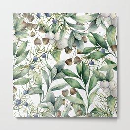 Art Watercolor, Leaves, Greenery, Botanical, Decor Art Metal Print