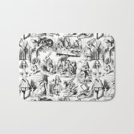 Alice in Wonderland | Toile de Jouy | Black and White Bath Mat