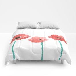 Three Poppies \\ Watercolor Flowers Comforters