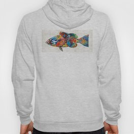 Colorful Grouper Art Fish by Sharon Cummings Hoody