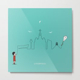 Liverpool Skyline Kite Metal Print