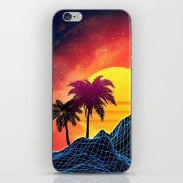 Sunset Vaporwave landscape with rocks and palms iPhone Skin