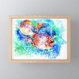 Underwater Scene Artwork, Discus Fish, Turquoise blue pink aquatic design Framed Mini Art Print