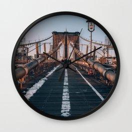 Golden Hour On Brooklyn Bridge Wall Clock